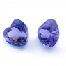 Пара ярких танзанитов формы сердце общим весом 3.91 карат, размеры 7.8х7.3 и 7.6х7мм (tanz0354)