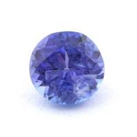 Яркий фиолетово-синий танзанит круг, вес 0.7 карат, размер 5.5х5.4мм (tanz0429)