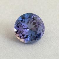 Фиолетово-синий танзанит круг, вес 1.02 карат, размер 6.5х6.5мм (tanz0482)