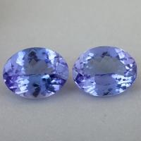 Пара светлых фиолетово-синих танзанитов формы овал общим весом 3.82 карат, размер 9.1х7.1мм (tanz0484)