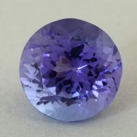 Фиолетово-синий танзанит формы круг, вес 5.29 карат, размер 10.2х10.1мм (tanz0492)
