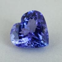 Фиолетово-синий танзанит формы сердце, вес 2.63 карат, размер 9.2х8.7мм (tanz0497)