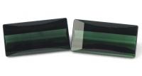 Пара синевато-зелёных турмалинов формы багет общим весом 4.95 карат, размер 12.1х6мм (turm0200)