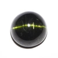 Тёмно-зелёный турмалин с эффектом кошачьего глаза круг вес 4.48 карат, размер 9.6х9.5мм (turm0260)