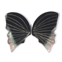 Пара резных полихромных турмалинов Бабочка, общий вес 12.88 карат, размер 18.8х11.2мм (turm0275)