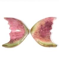 Пара резных полихромных турмалинов Бабочка, общий вес 14.38 карат, размер 18.3х15мм (turm0279)