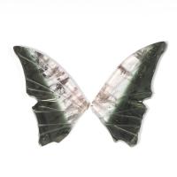 Пара резных полихромных турмалинов Бабочка, общий вес 4.12 карат, размер 17.1х8.2мм (turm0287)