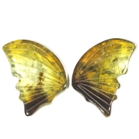 Пара резных полихромных турмалинов Бабочка, общий вес 13.45 карат, размер 19.8х12.5мм (turm0293)