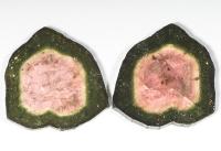 Пара спилов кристалла полихромного турмалина, общий вес 20.41 карат, размер 20х18мм (turm0295)
