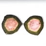 Пара спилов кристалла полихромного турмалина, общий вес 20.02 карат, размер 18х17мм (turm0296)