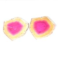 Пара спилов кристалла полихромного турмалина, общий вес 9.95 карат, размер 15.7х13мм (turm0297)