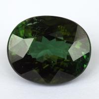 Темно-зеленый турмалин овал, вес 15.6 карат, размер 16.6х13.6мм (turm0370)