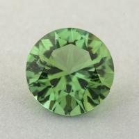 Салатово-зеленый турмалин отличной российской огранки формы круг, вес 1.24 карат, размер 6.9х6.9мм (turm0451)