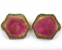 Пара спилов кристалла арбузного турмалина, общий вес 14.62 карат, размер 16х15мм (turm0507)