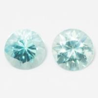 Пара голубых цирконов формы круг, общий вес 1.9 карат, размер 5.5х5.4мм (zircon0097)