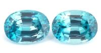Пара голубых цирконов формы овал, общий вес 3.9 карат, размер 8.2х6.1мм (zircon0111)