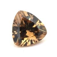 Жёлто-коричневый циркон триллион вес 1.52 карат, размер 7.2х6.9мм (zircon0129)