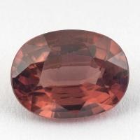 Розовато-коричневый циркон формы овал, вес 2.83 карат, размер 9.4х7.1мм (zircon0154)